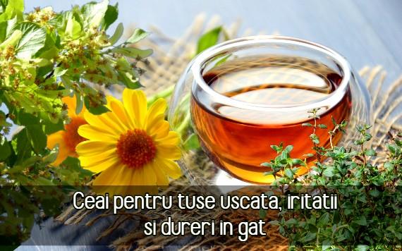 Ceai pentru tuse uscata, iritatii, dureri in gat