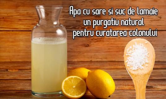 Apa cu sare si suc de lamaie – un purgativ natural pentru curatarea colonului
