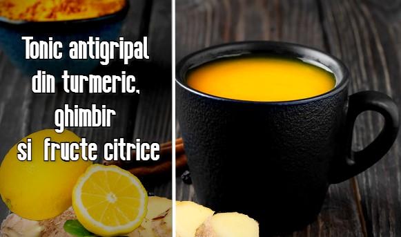 Tonic antigripal din turmeric, ghimbir si fructe citrice