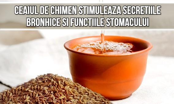 Ceaiul de chimen stimuleaza secretiile bronhice si functiile stomacului