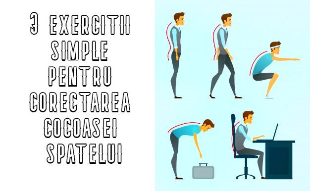 3 exercitii simple pentru corectarea cocoasei spatelui