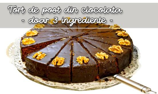 Tort de post din ciocolata din doar 3 ingrediente