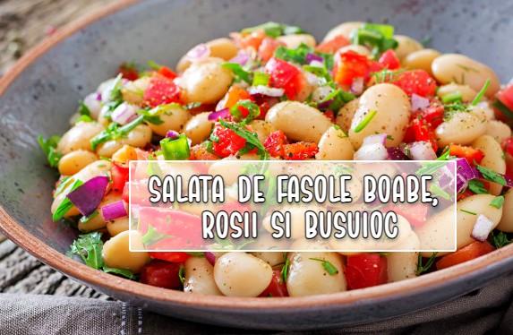 Salata de fasole boabe, rosii si busuioc