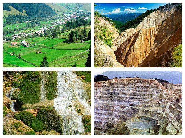 Comuna Rimetea, Groapa Ruginoasa, Cascada Vălul Miresei, Minele Romane Roșia Montană